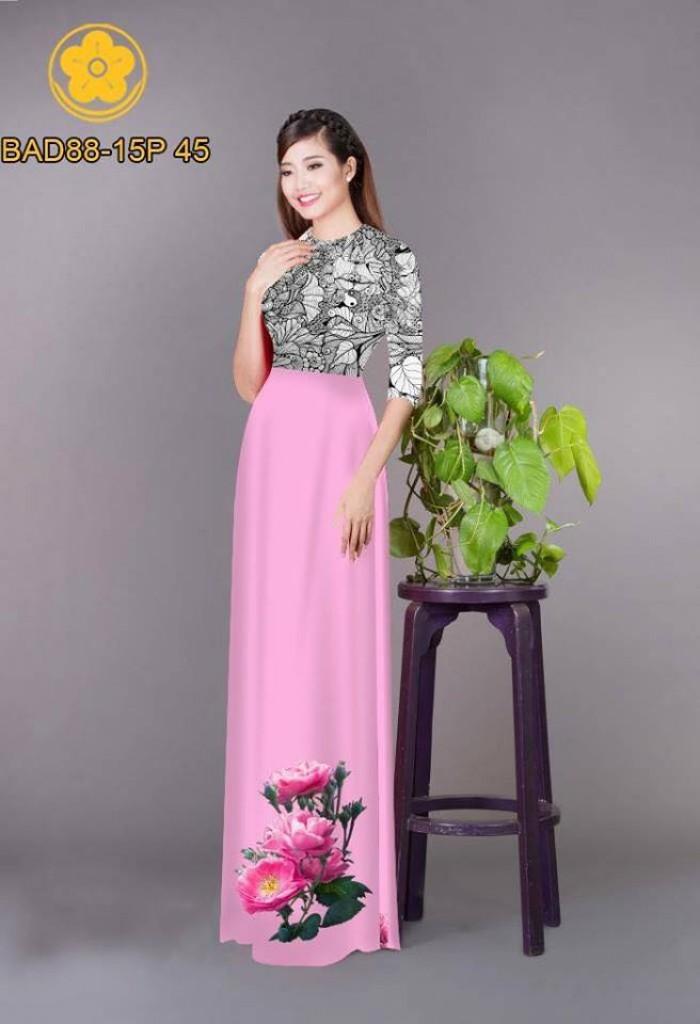 Vải áo dài cách điệu phần ngực lá cùng hoa bông tà27