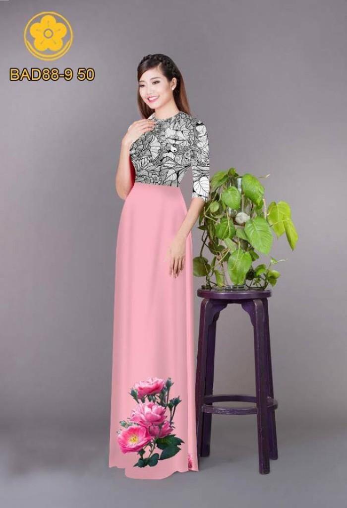 Vải áo dài cách điệu phần ngực lá cùng hoa bông tà28