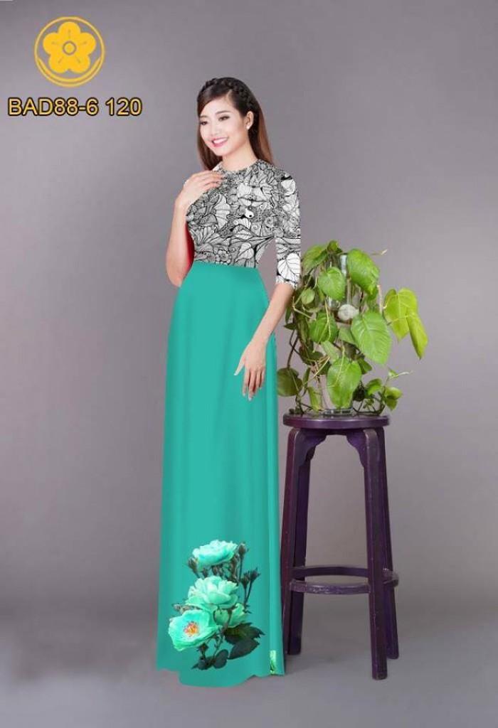 Vải áo dài cách điệu phần ngực lá cùng hoa bông tà29
