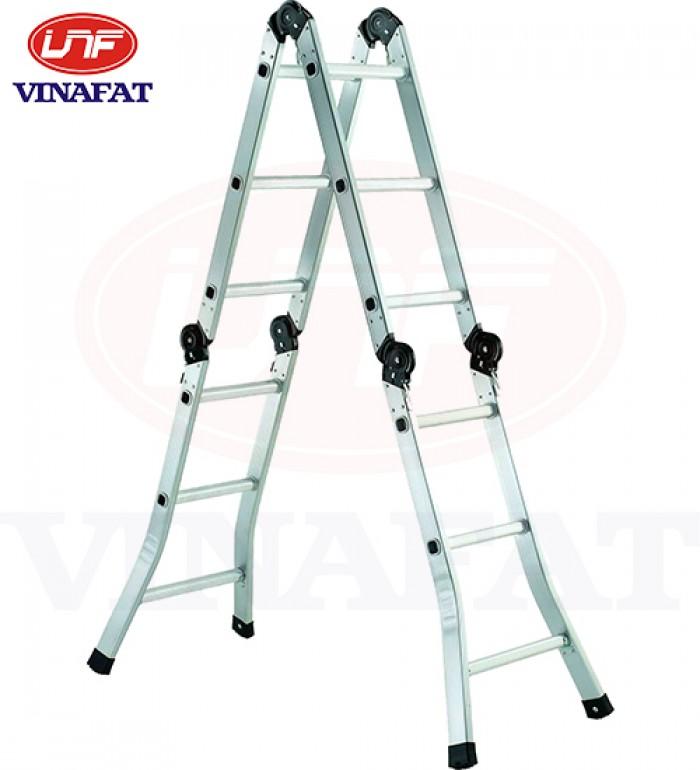 Thang nhôm gấp đoạn, thang gấp 4 đoạn, thang nhôm gấp khúc, thang nhôm chuyên dùng lắp điều hòa1