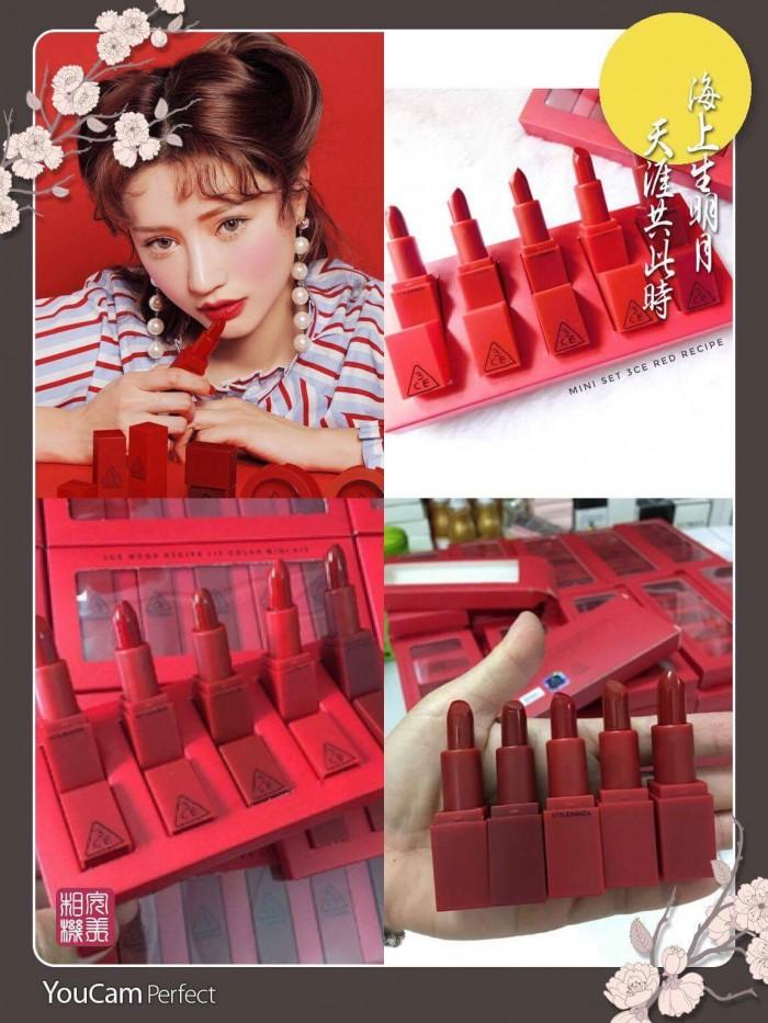 Son 3ce-Set 5 Son Mini 3CE Red Recipe (Tặng nước hoa )