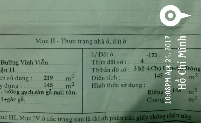 Nhà 2 mặt tiền Vĩnh Viễn thuân tiện Kinh doanh. DT: 145m2