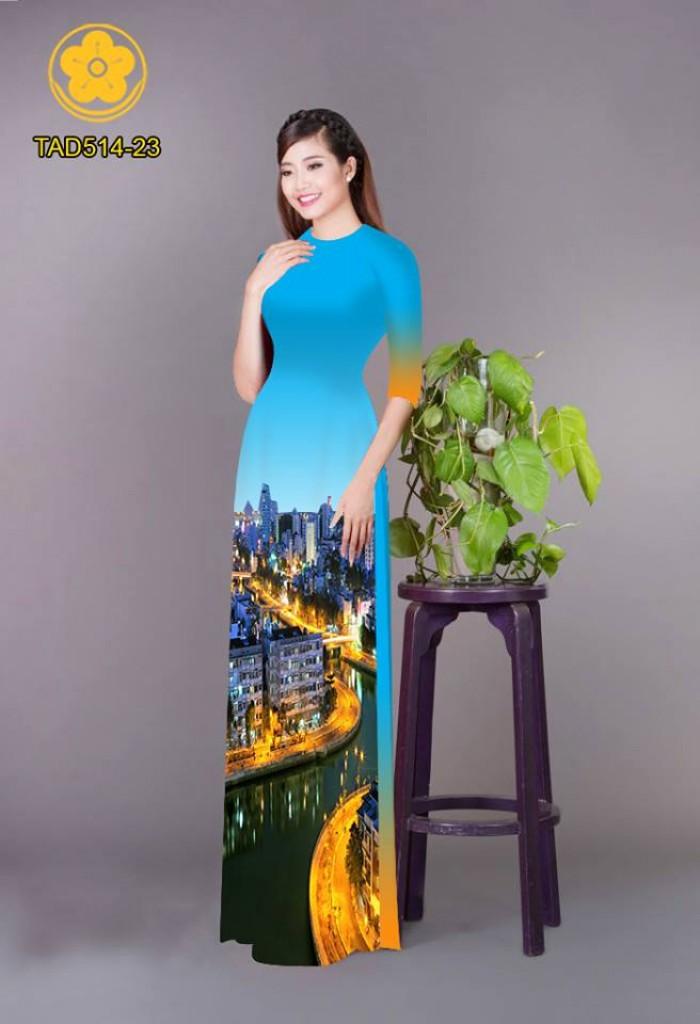 Vải áo dài phong cảnh thành phố1