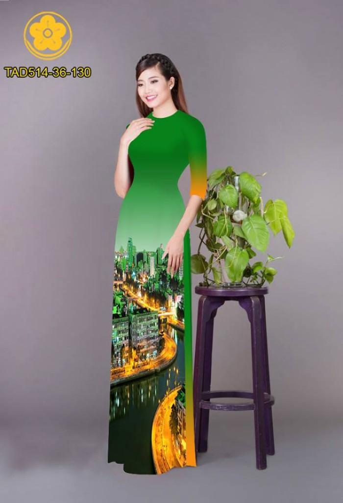 Vải áo dài phong cảnh thành phố2