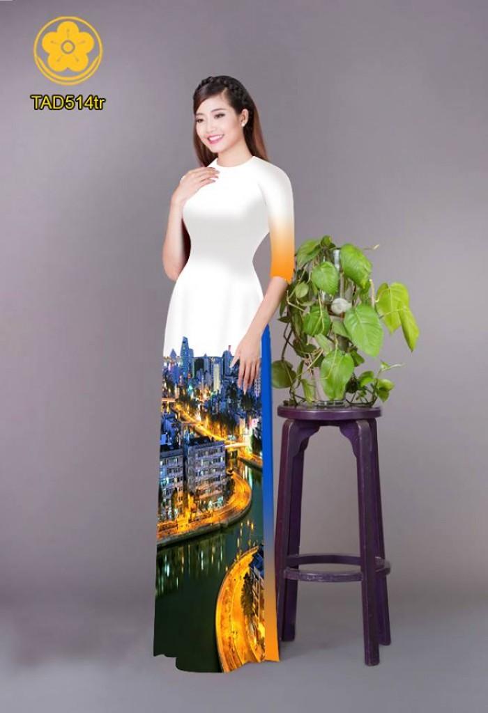 Vải áo dài phong cảnh thành phố11