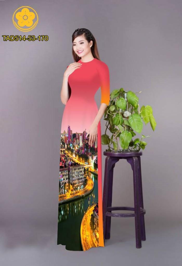 Vải áo dài phong cảnh thành phố13