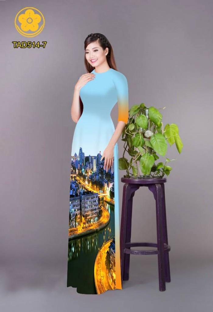 Vải áo dài phong cảnh thành phố14