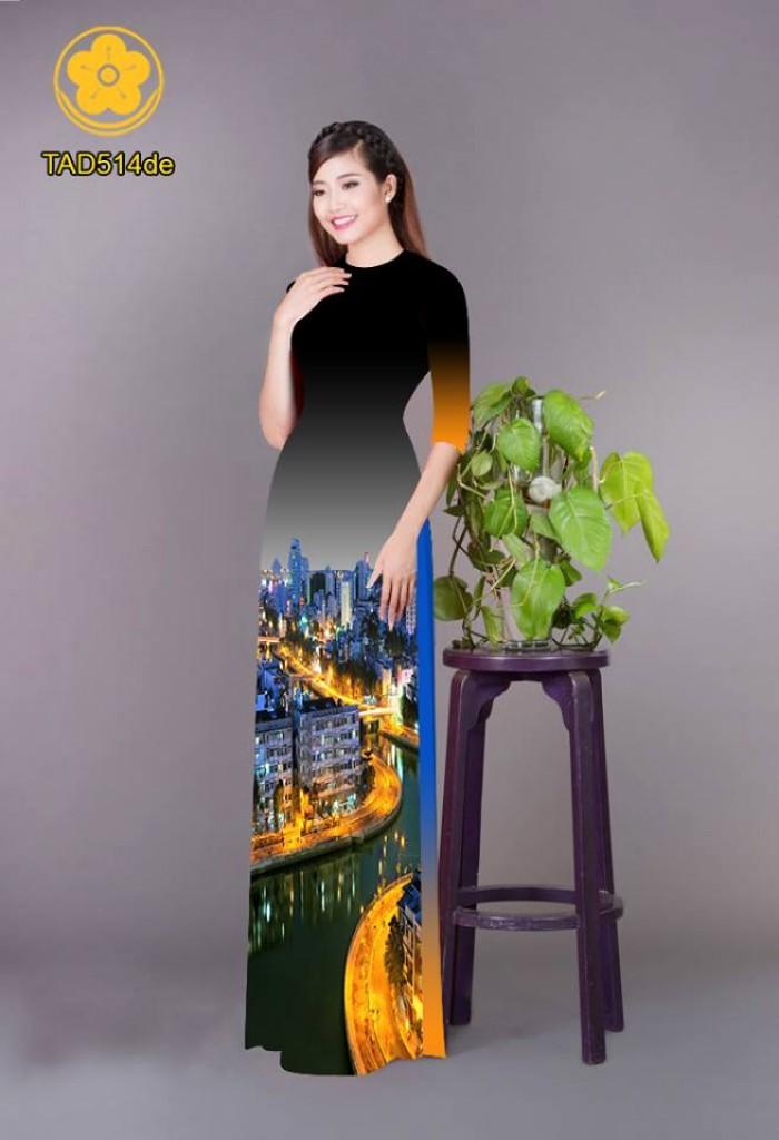 Vải áo dài phong cảnh thành phố17