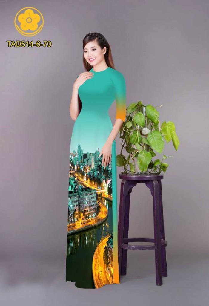 Vải áo dài phong cảnh thành phố18