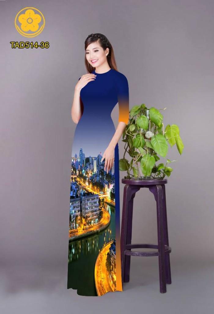 Vải áo dài phong cảnh thành phố19