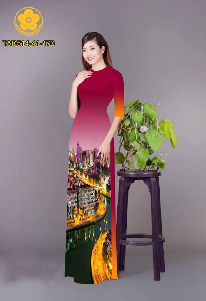 Vải áo dài phong cảnh thành phố21
