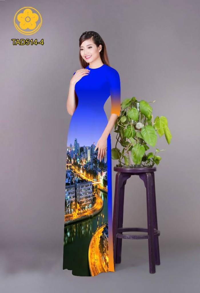 Vải áo dài phong cảnh thành phố24