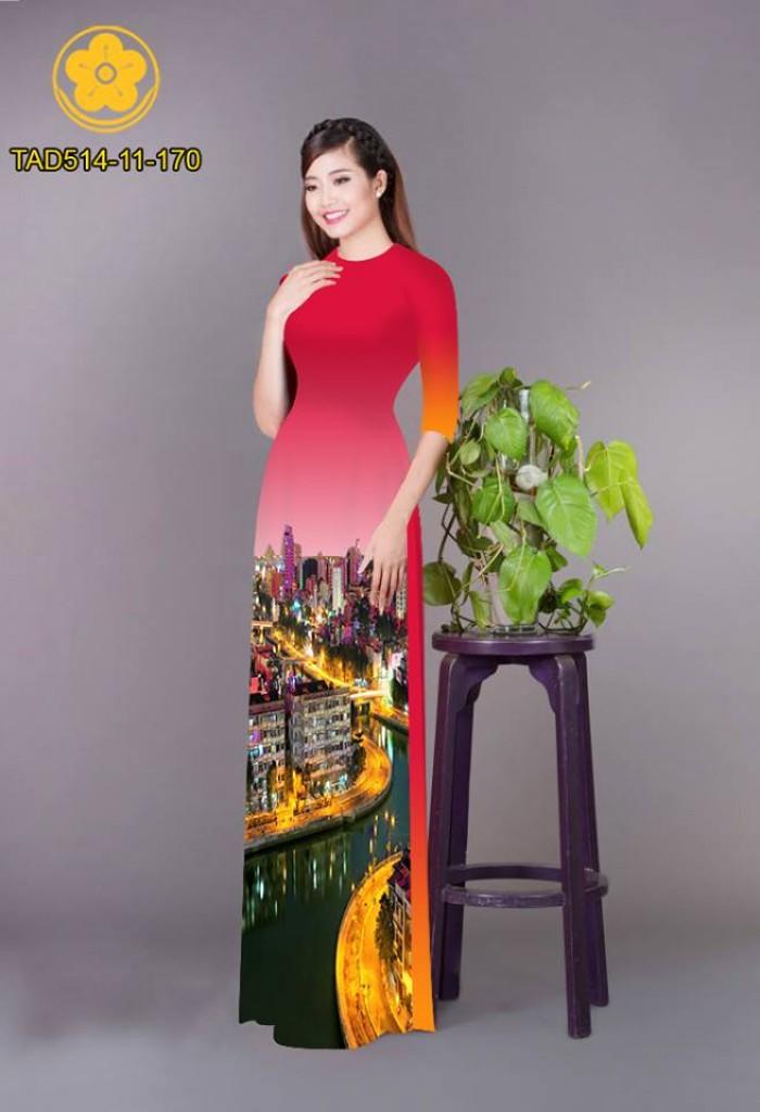 Vải áo dài phong cảnh thành phố27