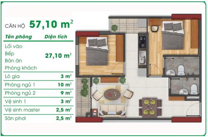 Xuất ngoại,bán gấp căn hộ Asa Light 57m2,2PN,2WC giá 1.15 tỷ cách Q1 2km.