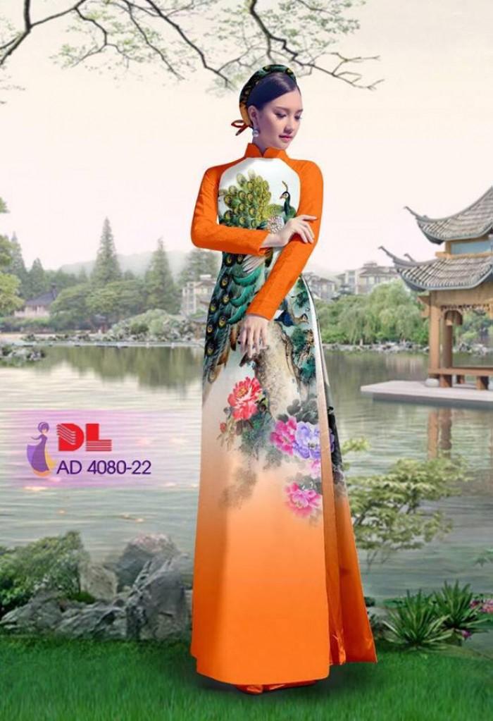 Vải áo dài Chim Công và hoa mẫu đơn1