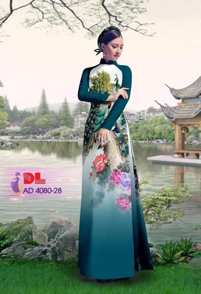 Vải áo dài Chim Công và hoa mẫu đơn3