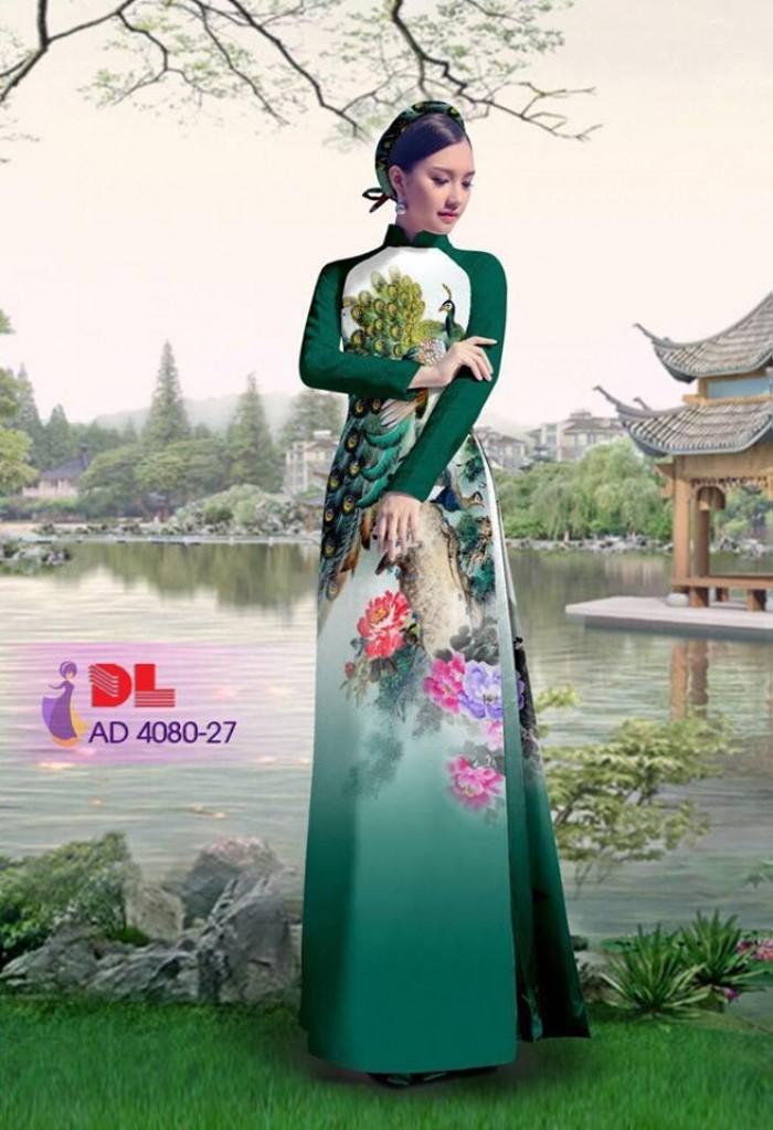 Vải áo dài Chim Công và hoa mẫu đơn5