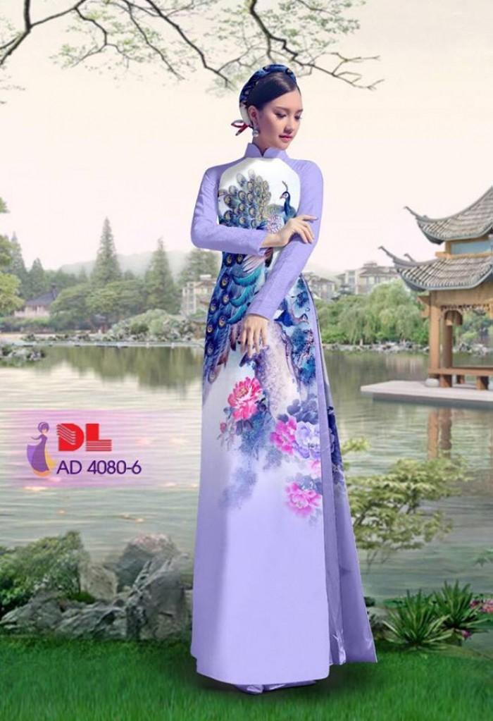 Vải áo dài Chim Công và hoa mẫu đơn6