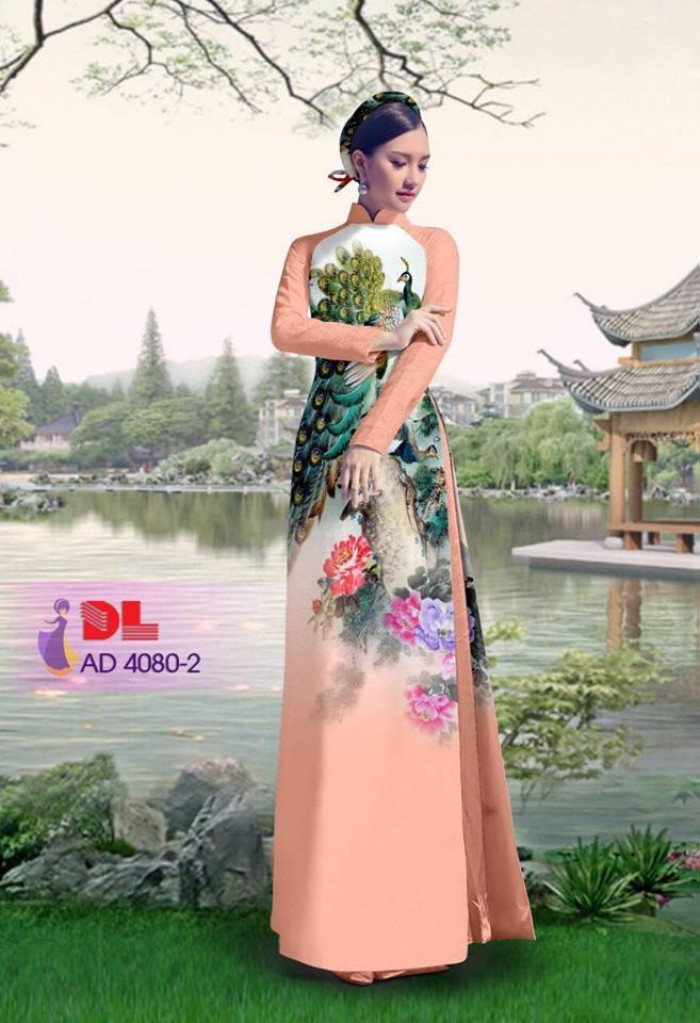 Vải áo dài Chim Công và hoa mẫu đơn9