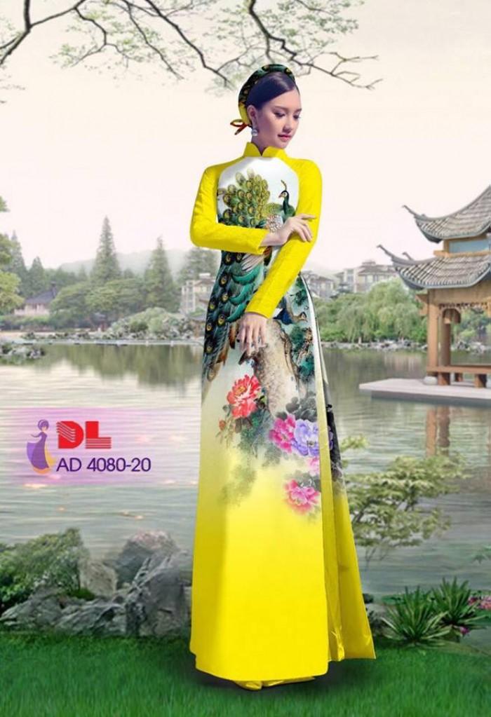 Vải áo dài Chim Công và hoa mẫu đơn10