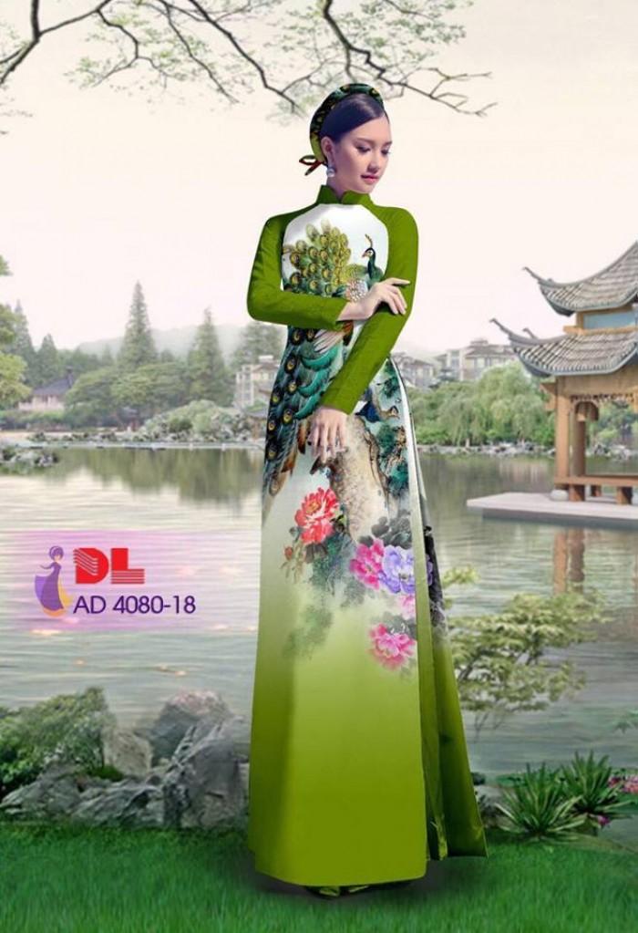 Vải áo dài Chim Công và hoa mẫu đơn11