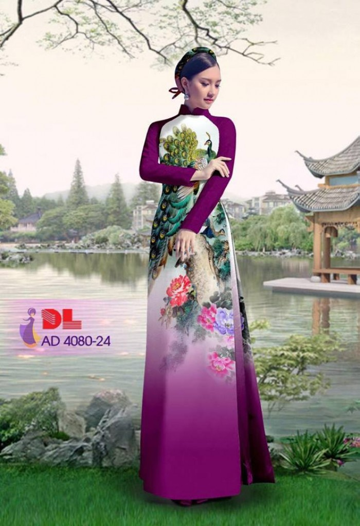 Vải áo dài Chim Công và hoa mẫu đơn12
