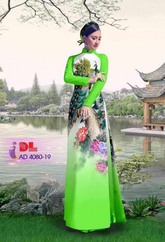 Vải áo dài Chim Công và hoa mẫu đơn14