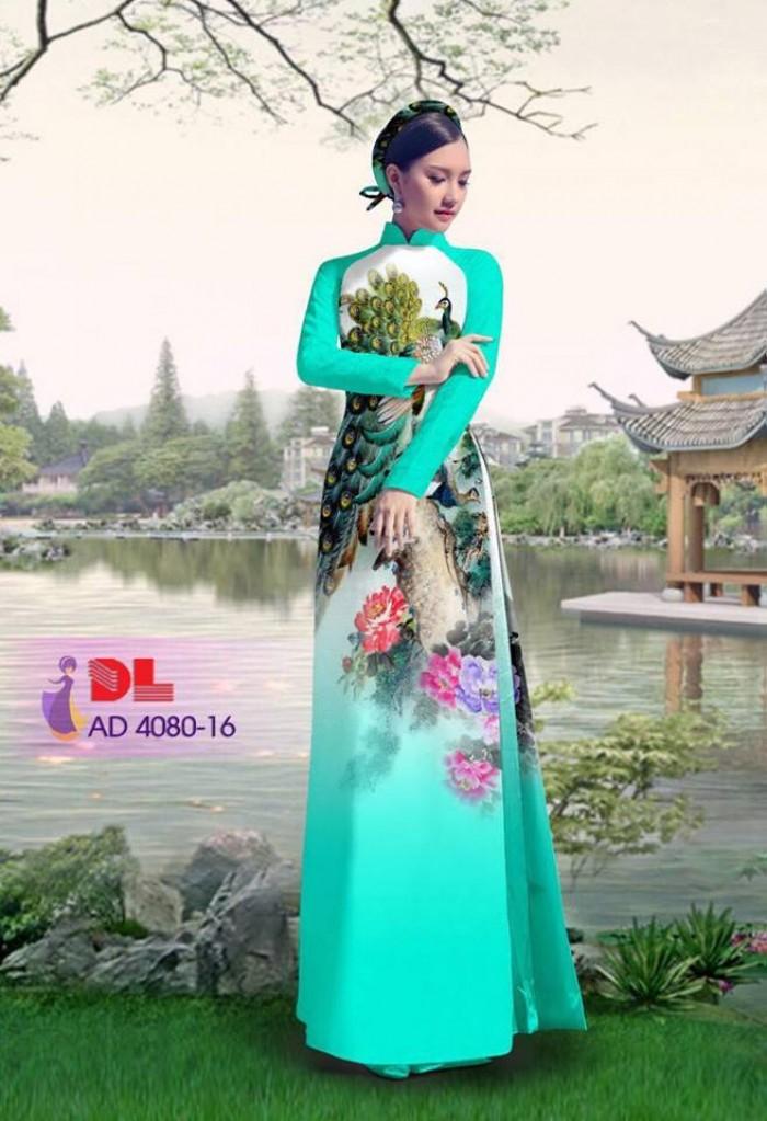Vải áo dài Chim Công và hoa mẫu đơn15