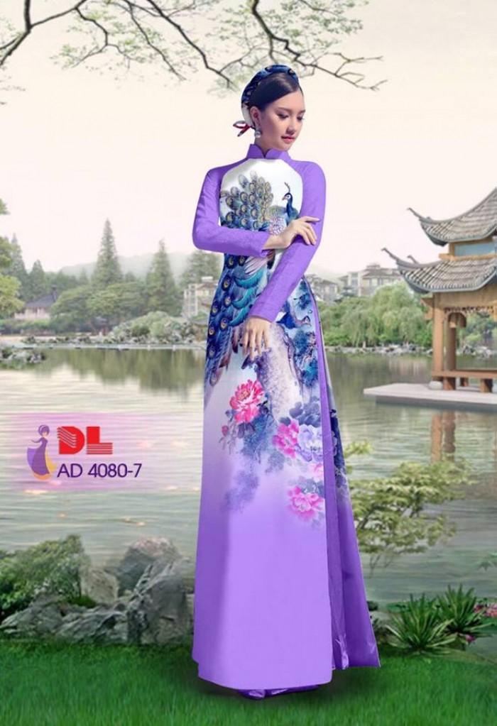 Vải áo dài Chim Công và hoa mẫu đơn17
