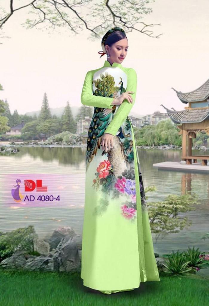 Vải áo dài Chim Công và hoa mẫu đơn18