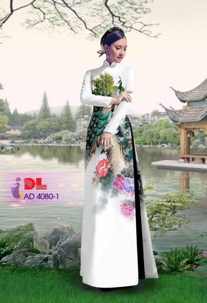 Vải áo dài Chim Công và hoa mẫu đơn20