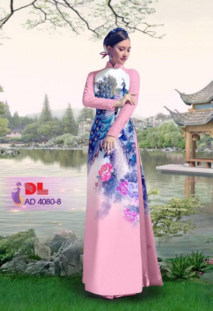 Vải áo dài Chim Công và hoa mẫu đơn21
