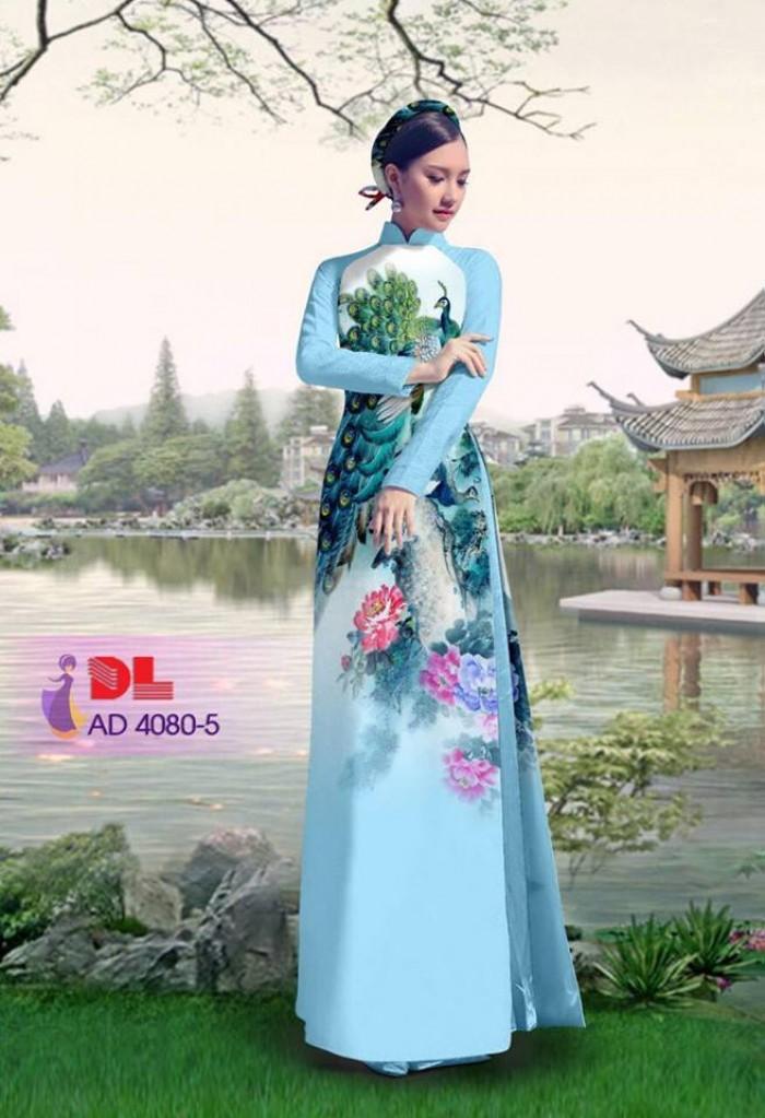 Vải áo dài Chim Công và hoa mẫu đơn23
