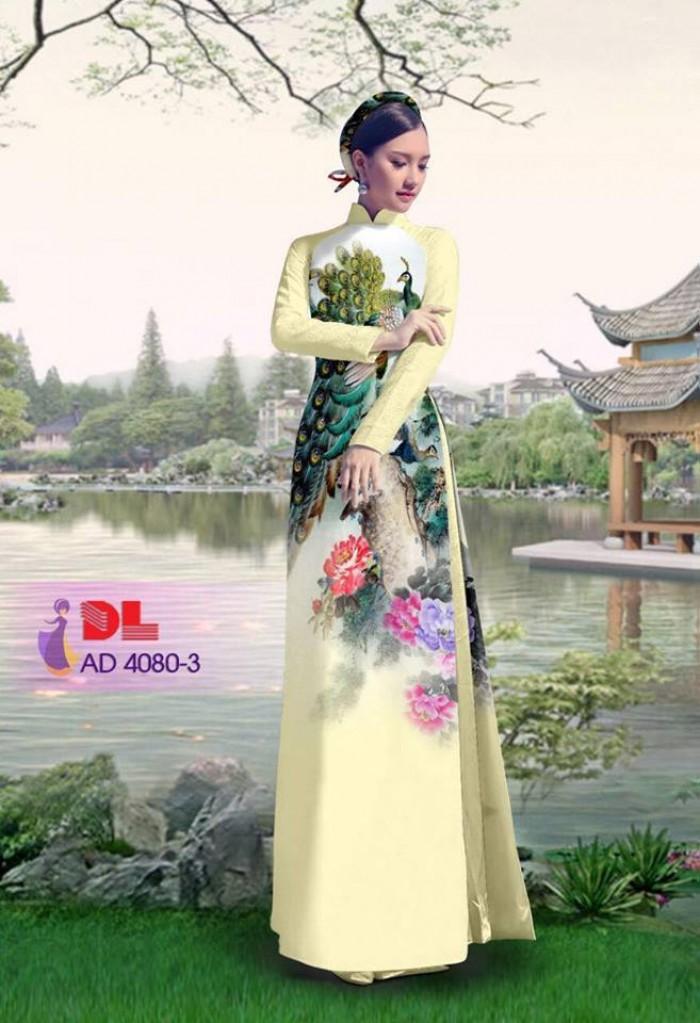 Vải áo dài Chim Công và hoa mẫu đơn24