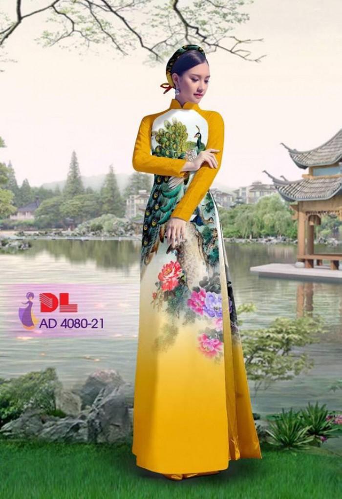 Vải áo dài Chim Công và hoa mẫu đơn25