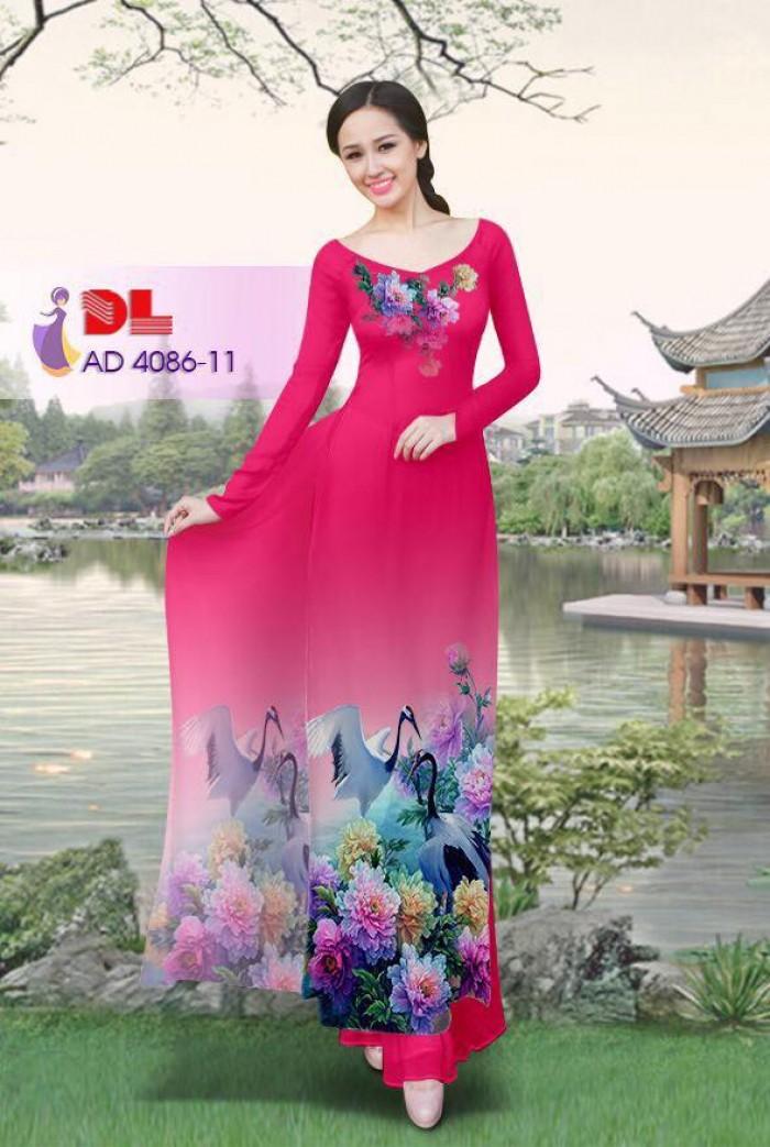 Vải áo dài Hoa mẫu đơn và Hạc1