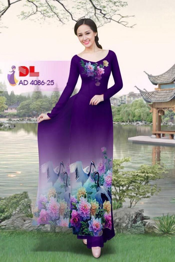 Vải áo dài Hoa mẫu đơn và Hạc2