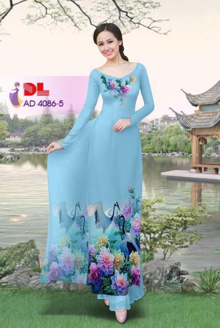 Vải áo dài Hoa mẫu đơn và Hạc3