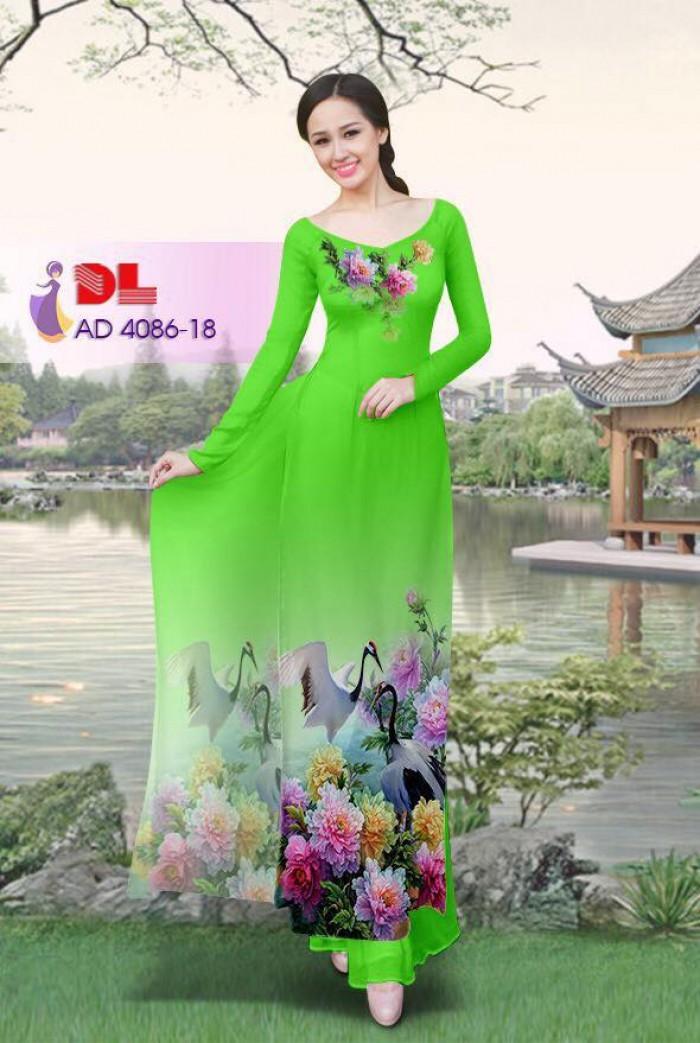 Vải áo dài Hoa mẫu đơn và Hạc4