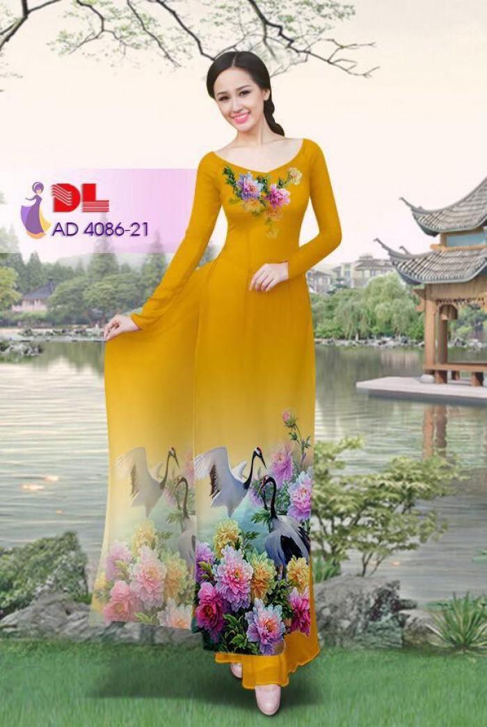 Vải áo dài Hoa mẫu đơn và Hạc5