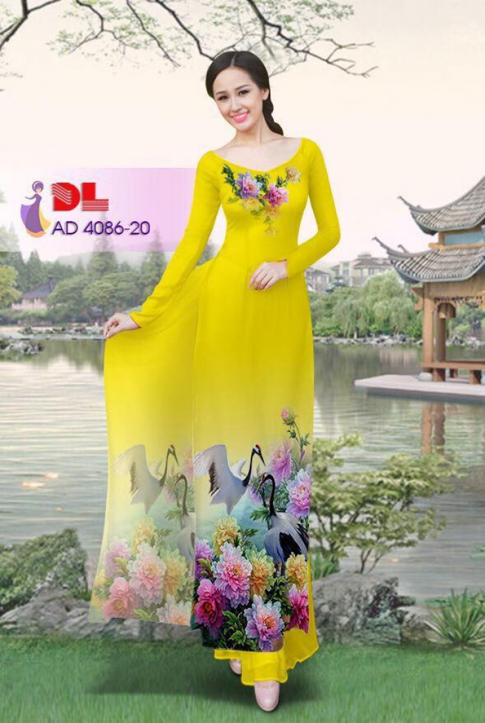 Vải áo dài Hoa mẫu đơn và Hạc6