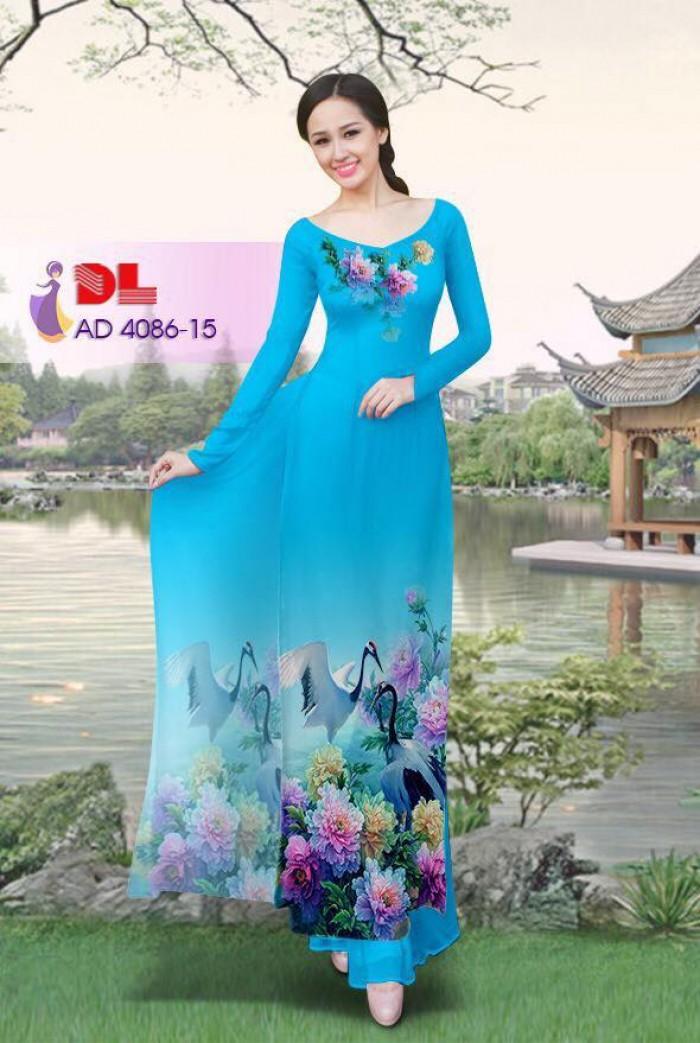 Vải áo dài Hoa mẫu đơn và Hạc7