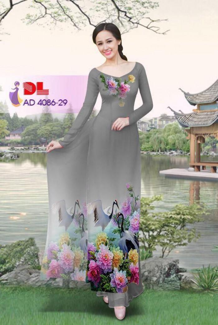 Vải áo dài Hoa mẫu đơn và Hạc8
