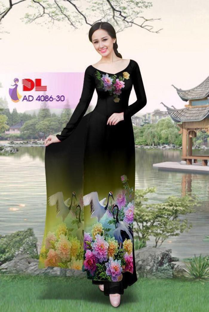Vải áo dài Hoa mẫu đơn và Hạc9