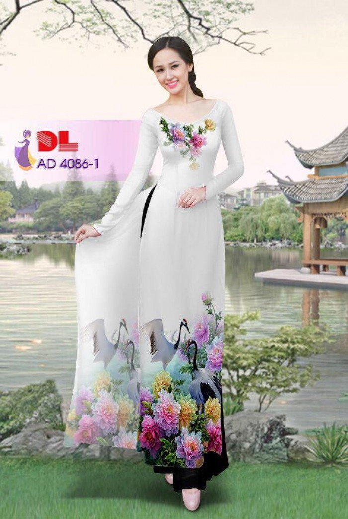 Vải áo dài Hoa mẫu đơn và Hạc10