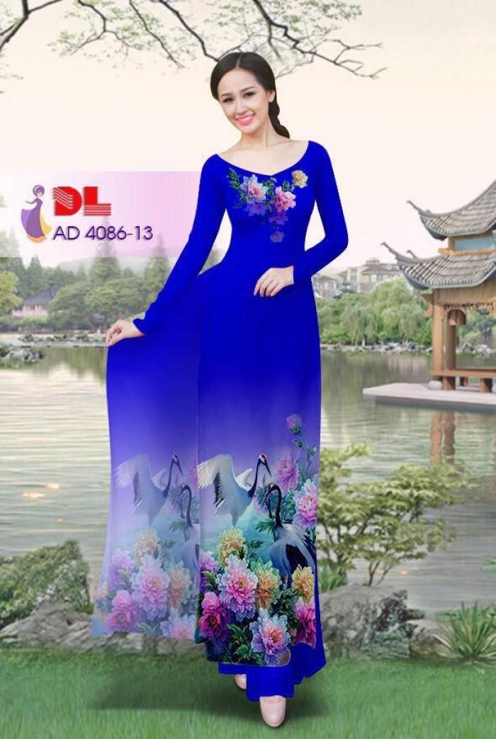 Vải áo dài Hoa mẫu đơn và Hạc11