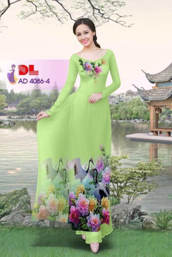 Vải áo dài Hoa mẫu đơn và Hạc12