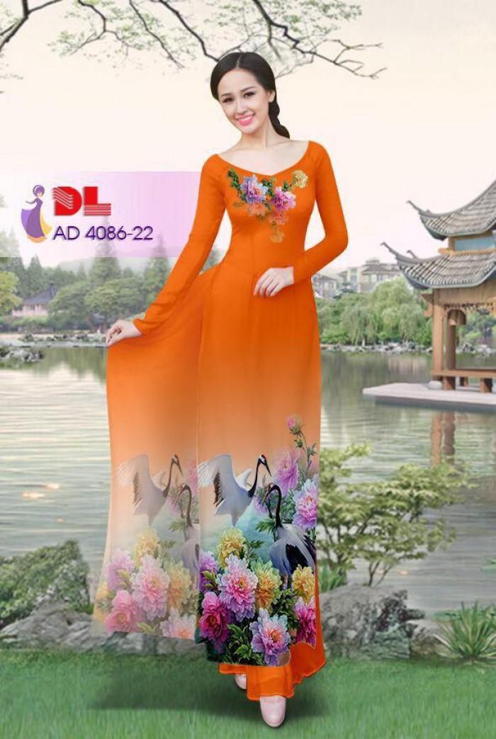 Vải áo dài Hoa mẫu đơn và Hạc13