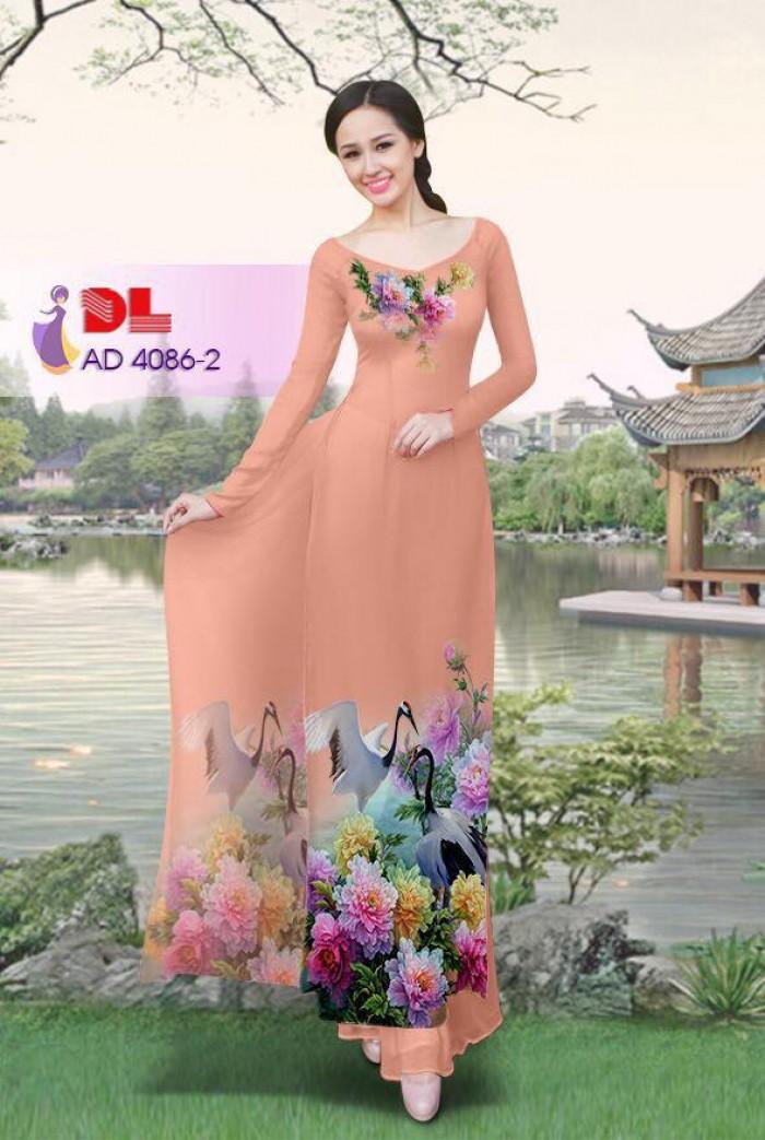 Vải áo dài Hoa mẫu đơn và Hạc14