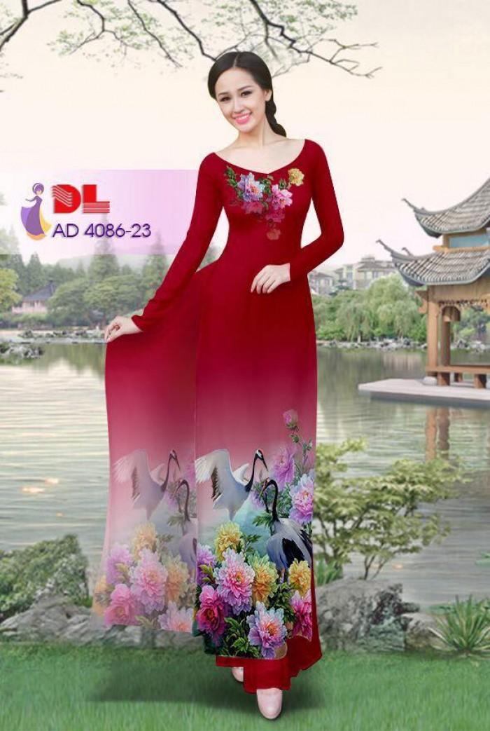 Vải áo dài Hoa mẫu đơn và Hạc15